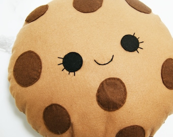 Happy Girl Cookie Cushion, Biscuit Plush, Soft Toy, Felt Cushion, Food Pillow, Kids Room Decor, Kawaii Pillow, Childrens Room, Cute Plushie