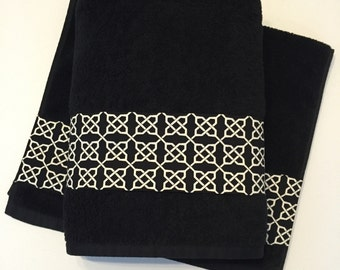 Amazing You Pick Size Bath Towels, Hand Towels, Bath Towels Sets, Custom Towels,  Black, Black Lattice, Black Bathroom, Black Towel, Quatrefoil Towel