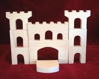 Castle Blocks, 9 pieces, Unfinished Pine Cutouts