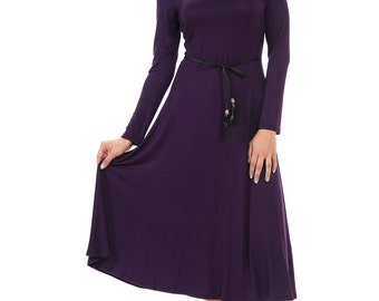Long Sleeve A-Line Midi Dress with Braided Tassel Belt Purple
