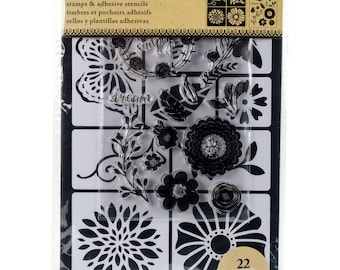 Art-C Stamp & Stencil set FLOWERS and BUGS 22 Piece set.