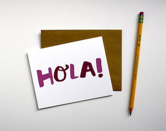 Hola! - Hand Lettered - Spanish Greeting Notecard