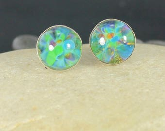 Earring Studs - Lampwork Glass - Sterling Silver - Underwater Garden - 10mm Post