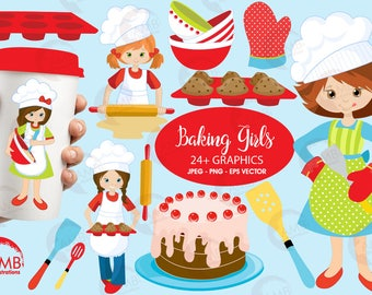 Baking Clipart, Chefs Clipart, Girl Chef Clipart, Bake Sale Clipart, Kitchen Clipart, Commercial Use, AMB-1102