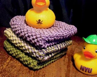 "Modern, Large, Hand-knit Cotton Dishcloths or Washcloths 10"" x 10"" - Scottish Heather"