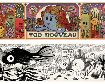 A4 Print: Two Lucy the Octopus Comic Strips Art Nouveau and Tove Janson Homage