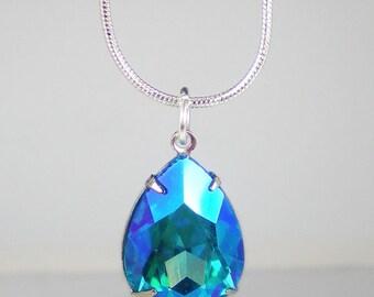 Rhinestone Necklace, Aqua Teal Necklace, Wedding Jewelry, Bridesmaid Gift, Gift for Her, Teal Wedding, Bridal Party Gift, Aqua Wedding