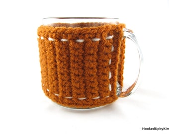 Crochet Coffee Cup Cozy - Burnt Orange with White Stitching