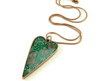 Orgone Energy Pendant - Large Antiqued Copper Heart - Green with Malachite Gemstone - Artisan Jewelry