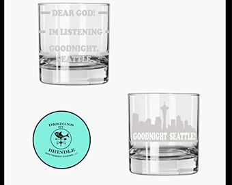 Frasier rocks glass set of 2 - Frasier goodnight Seattle, frasier whiskey glass