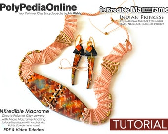 SALE Polymer Clay Jewelry, Macrame Jewelry, Knotted Necklace, Necklace Pattern, Bead Tutorial, PDF Jewelry Tutorial, Macrame Pattern, How To