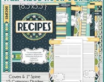 RECIPE BINDER Kit Printables (NAVY), Recipe Book, Recipe Printables, Recipe Kit, Half-Size, 5.5x8.5 - Printable Instant Download