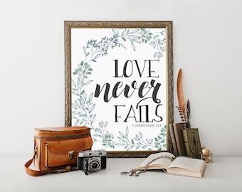 Love Never Fails, love never fails sign, french country decor, 1 corinthians 13, 1 corinthians 13 sign, bible verse wall art, bible verse