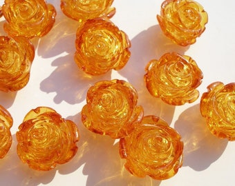 4 Pcs Syenthetic Amber 15 Mm Orange Rose Flower Cabochons Y305 Y035