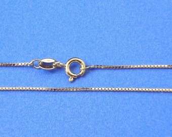 20 inch Yellow Gold Vermeil 0.9mm Box Necklace Chain Jewelry Supply