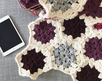 Crocheted Baby Blanket, Granny Crochet Hexagon Blanket, Baby Blanket Crochet, Chunky Crochet Blanket, Crochet Lap Blanket, Throw Blanket