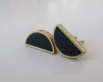 charcoal black brass half moon stud earrings