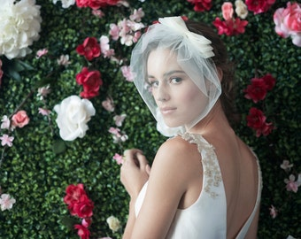birdcage veil, bridal birdcage veil, bird cage veil with bow, veil bow, tulle birdcage, bridal veil ~ COSETTE w/ MARIE Medium BIRDCAGE