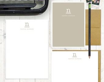 komplette personalisiertes Briefpapier set - nur meine Art Monogramm - personalisierte monogrammiert stationäre Set - Grußkarten - Notizblock - Farbe wählen