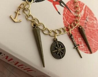 Delilah Bard Charm Bracelet, A Darker Shade of Magic Charm Bracelet, Tolkien Charm Bracelet, VE Schwab, Pirate, Book Nerd, Literary Jewelry