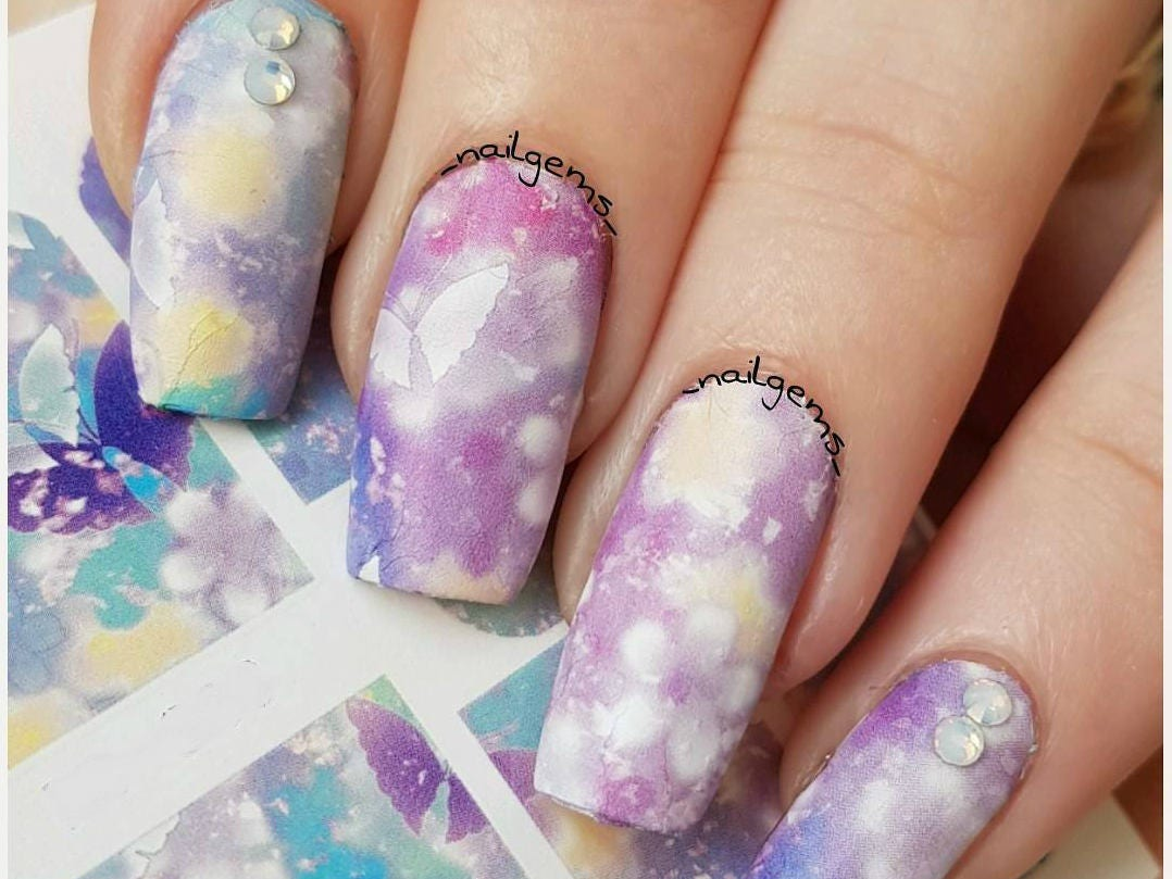 Fairy butterfly nail decals/ Full nail wraps/ Full cover nail decals ...