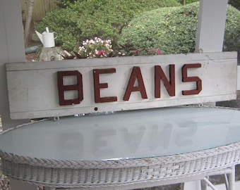 """Vintage Wooden Farm Stand Sign   """"BEANS"""""""