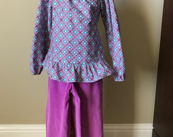 Long sleeve fuschia and blue peasant top size 6