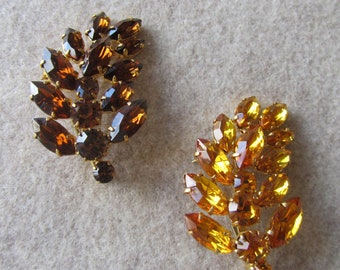 Vintage pair of leaf brooches with brown and yellow rhinestones