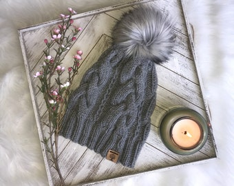 Cabled Slouchy Beanie With Faux-Fur Pom-Pom *READY TO SHIP**