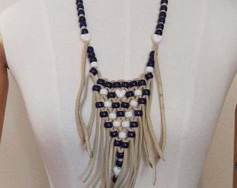 Vintage Leather Fringe Necklace