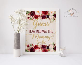 Guess How Old Was the Mommy to Be Game / Printable Marsala Baby Shower Poster DIY Party