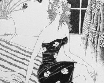 """Title : Bride    (Original framed ink fine art, wall art, 11x14"""")"""