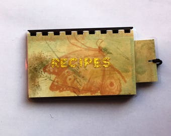 Handmade Yellow Golden Butterfly 'Recipes' Blank Recipe book for Your Personal Recipes