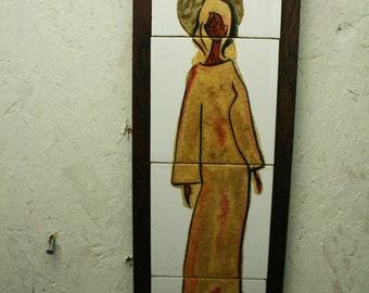 Vintage painted tiles in teak frame