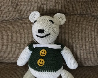 """Handmade 11"""" Smiley Button Bear"""