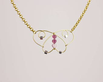 Butterfly Necklace with Wire-Wrapped Garnets and Hematite Original Handmade