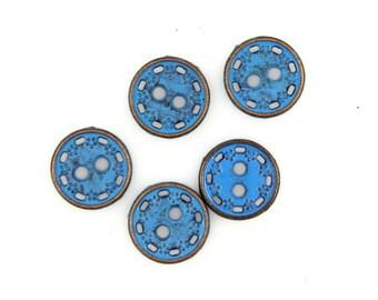 Metal Buttons - Floret Wreath Blue Metal Hole Buttons - 11mm - 7/16 inch - 6 pcs