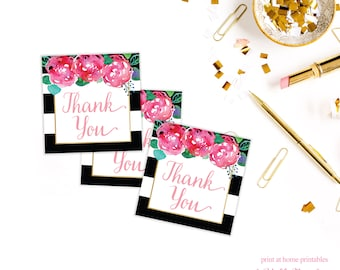 Bridal Shower Thank You Tags - White, Black, Gold - Bridal Shower Favor Tags - Instant Download