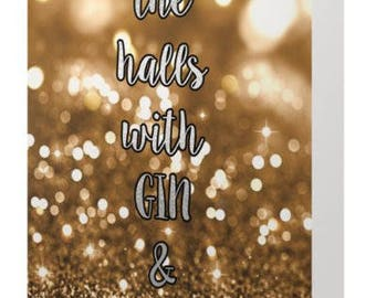 Gin & Glitter Christmas Cards. 10 Per Pack.