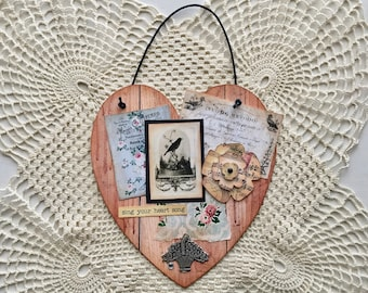 Sweet and Shabby Vintage Style Altered Hanging Heart 2