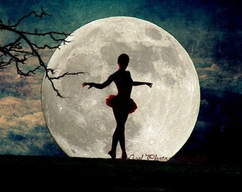 Dance Moon Ballerina Blue Teal Red Girls Room Bedroom Art Matted Picture A615
