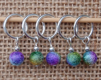 Rainbow stardust stitch markers, set of five