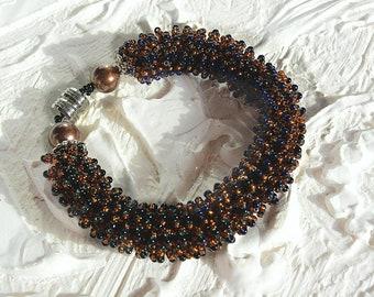 Seed Bead Bracelet, Beadwoven bracelet, Cuff bracelet, Bracelet Colorful, Bracelet snake, Bracelet color dark honey