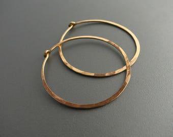 "1.25"" Hammered Gold Hoop Earrings 14K Gold Filled"