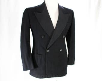 Men's 1940s Tuxedo Jacket - Gangster Style Made in Italy - Small Size - Mid Century Mens Formal Wear - 40s Tux Jacket - Chest 38 - 48480