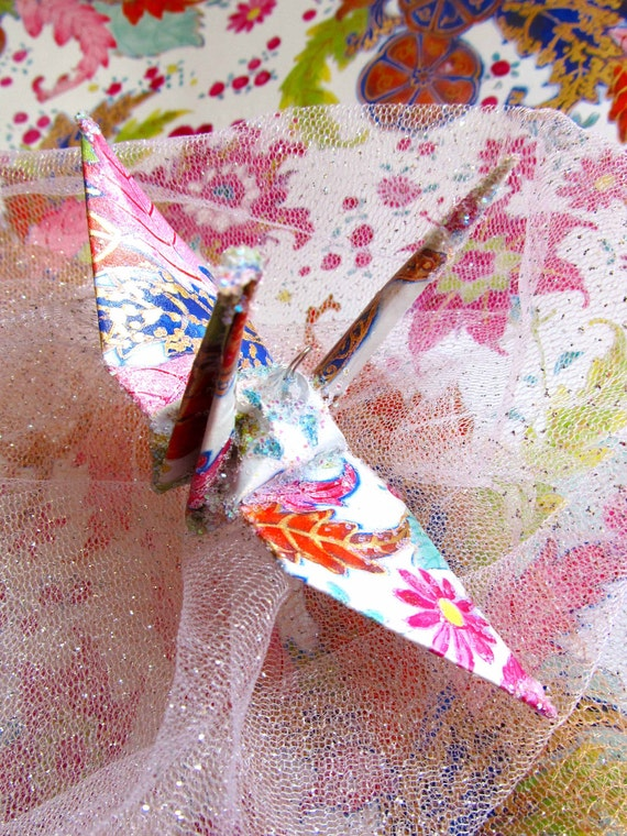 fantasy paisley peace crane bird wedding cake topper party
