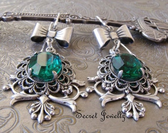 Antique Silver Chandelier Earrings, Victorian Filigree Earrings, Vintage Emerald Glass Earrings, Bow Earrings