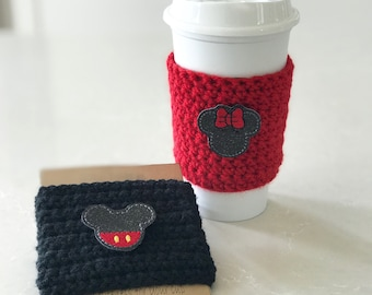 Mickey and Minnie Cup cozy, reusable cup sleeve, cup cozy, coffee sleeve, Iced coffee cozy, teacher gifts, party favors