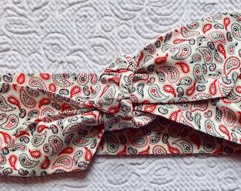Red paisley adult head band hair wrap scarf bandana headwrap