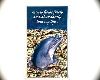AFFIRMATION MONEY MAGNET- Positive Saying Magnet for Attracting Money with Picture of a Dolphin and Money-Law of Attraction for Prosperity